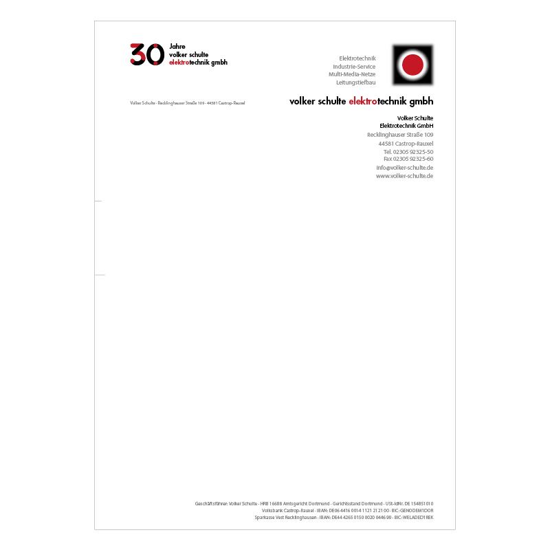 adcom werbeagentur Corporate Design Print Volker Schulte Elektrotechnik Castrop-Rauxel Geschäftspapiere