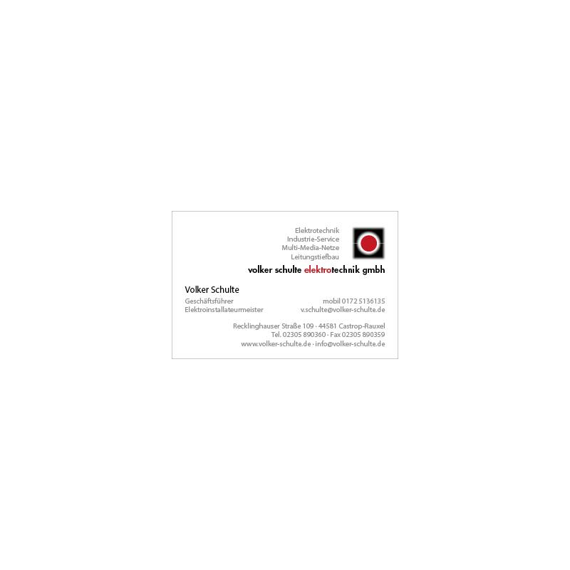 adcom werbeagentur Corporate Design Print Volker Schulte Elektrotechnik Castrop-Rauxel Visitenkarte