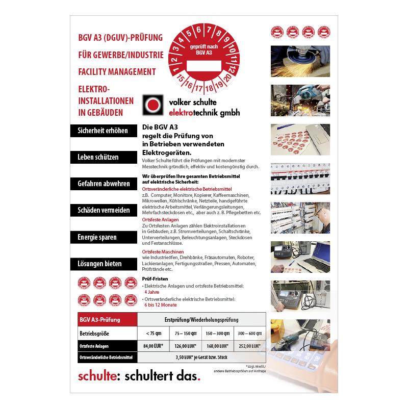 adcom werbeagentur Corporate Design Print Volker Schulte Elektrotechnik Castrop-Rauxel BGV A3